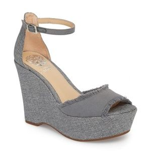 Vince Camuto Tatchen platforms wedges gray fringe